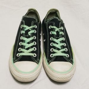 Converse Womens 8 Double Tongue Black Low Top